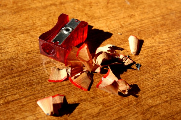 Red Pencil Sharpener with Pencil Shavings - Free High Resolution Photo
