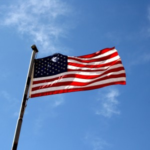 American Flag against Blue Sky - Free High Resolution Photo