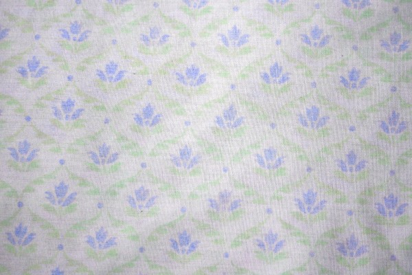 White Fabric with Blue Floral Pattern Texture - Free High Resolution Photo