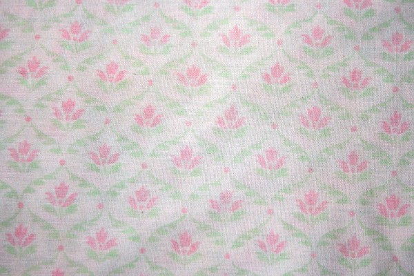 White Fabric with Pink and Green Floral Pattern Texture - Free High Resolution Photo