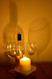 Wine Glasses, Bottle, Candle and Shadows - Free High Resolution Photo