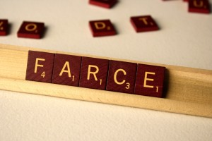 Farce - Free High Resolution Photo of the word Farce spelled in Scrabble tiles
