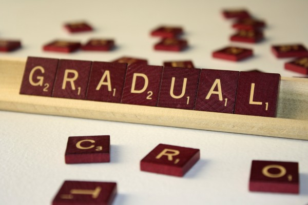 Gradual - Free High Resolution Photo of the word Gradual spelled in Scrabble tiles