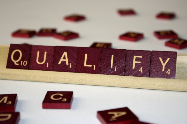 Qualify - Free High Resolution Photo of the word Qualify spelled in Scrabble tiles