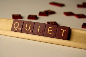 Quiet - Free High Resolution Photo of the word Quiet spelled in Scrabble tiles