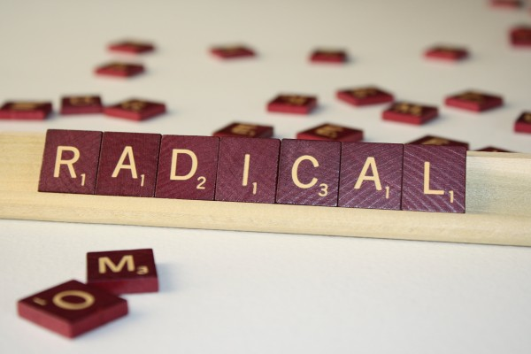 Radical - Free High Resolution Photo of the word Radical spelled in Scrabble tiles