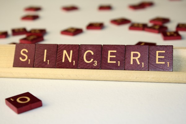 Sincere - Free High Resolution Photo of the word Sincere spelled in Scrabble tiles