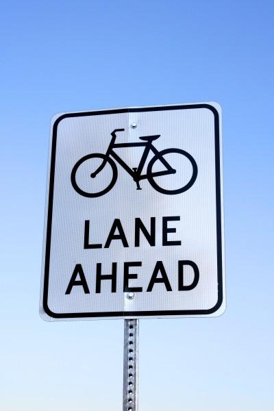 Bike Lane Ahead Sign - Free High Resolution Photo