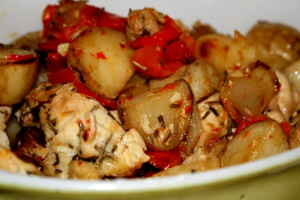 Roasted Chicken with Potatoes, Onions and Red Bell Peppers - Free High Resolution Photo