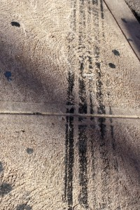 Tire Skid Marks on Sidewalk - Free High Resolution Photo