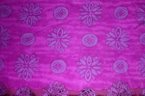 Hot Pink Fabric Texture with Purple Flowers and Circles