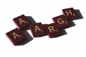 Aaargh - free high resolution photo of Scrabble letter tiles spelling the word aargh