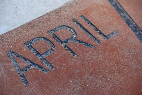 April - Free High resolution photo of the word April, part of a sidewalk sun calendar