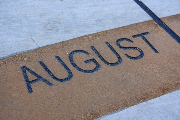 August - Free high resolution photo of the word August - part of a sidewalk sun calendar