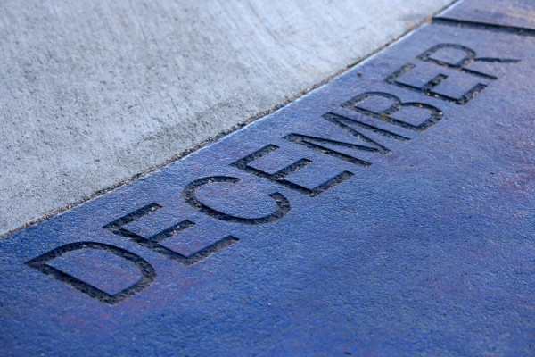December - Free high resolution photo of the word December - part of a sidewalk sun calendar
