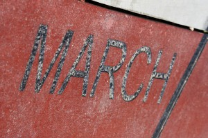 March - Free high resolution photo of the word March - part of a sidewalk solar calendar