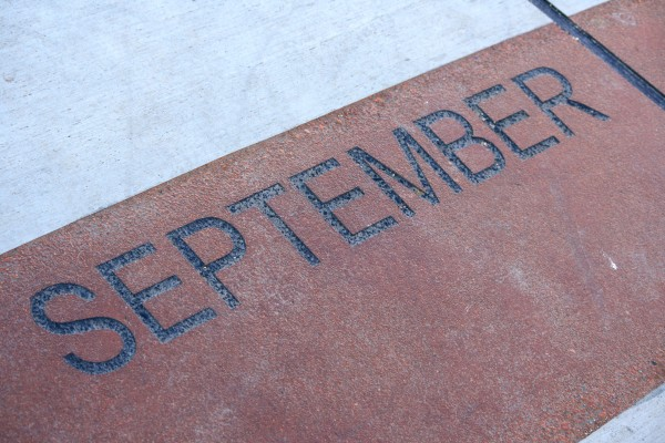 September - Free high resolution photo of the word September - part of a sidewalk solar calendar