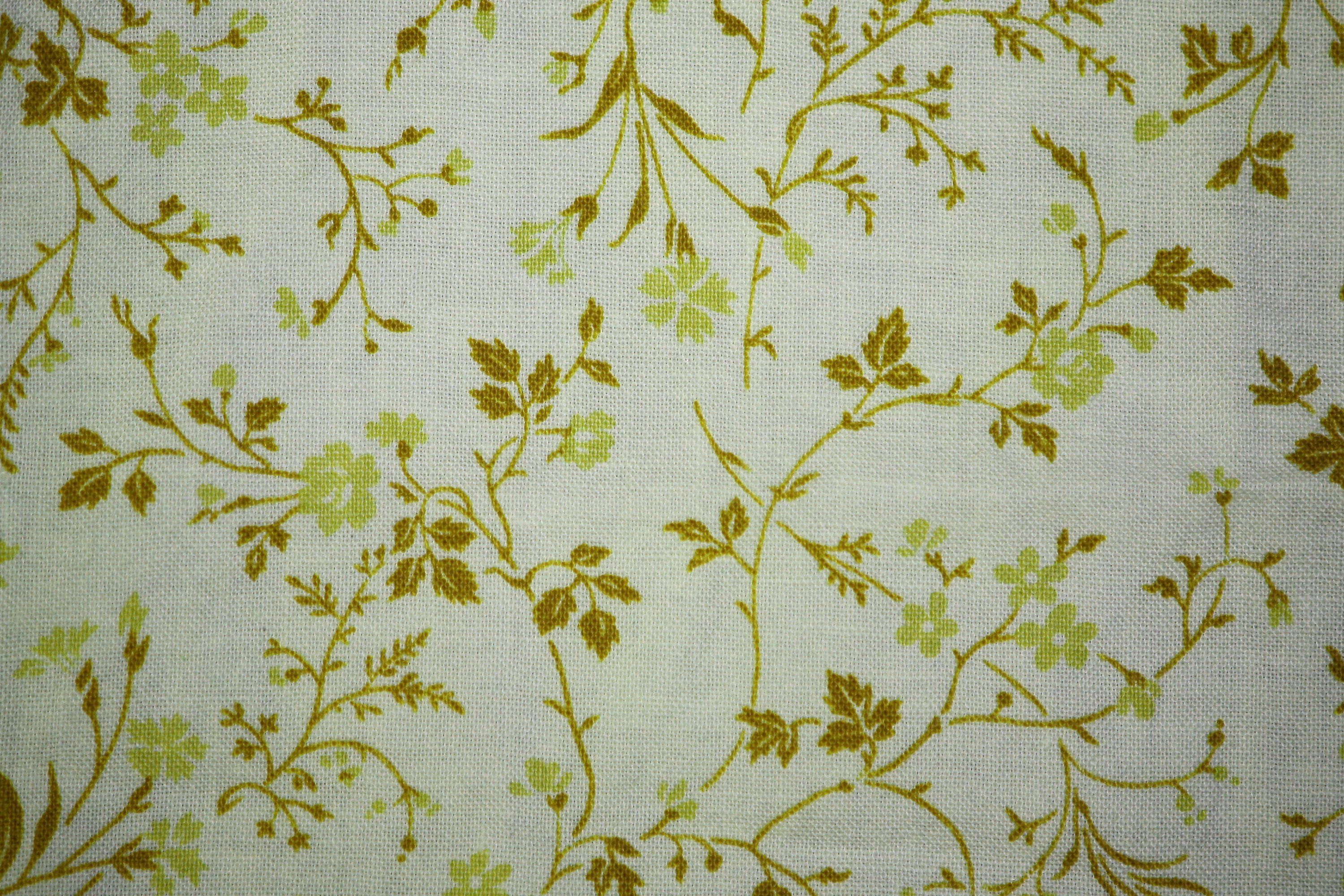 Gold On White Floral Print Fabric Texture Picture Free