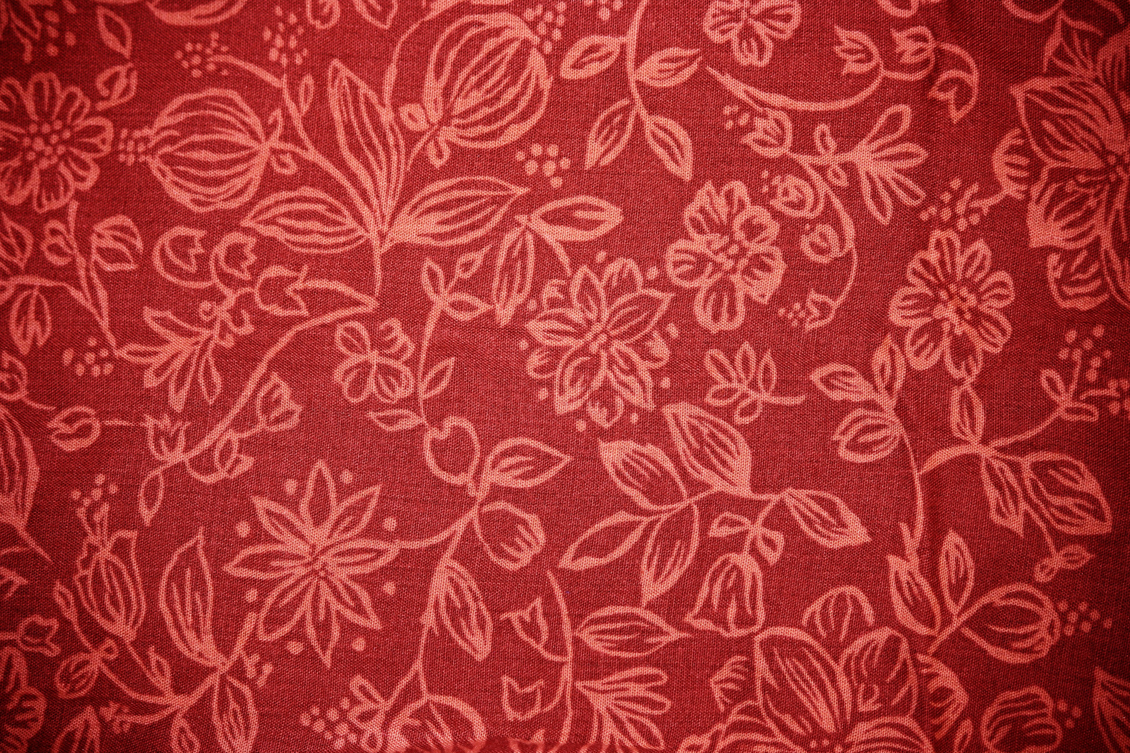 Red Fabric With Floral Pattern Texture Picture Free Photograph
