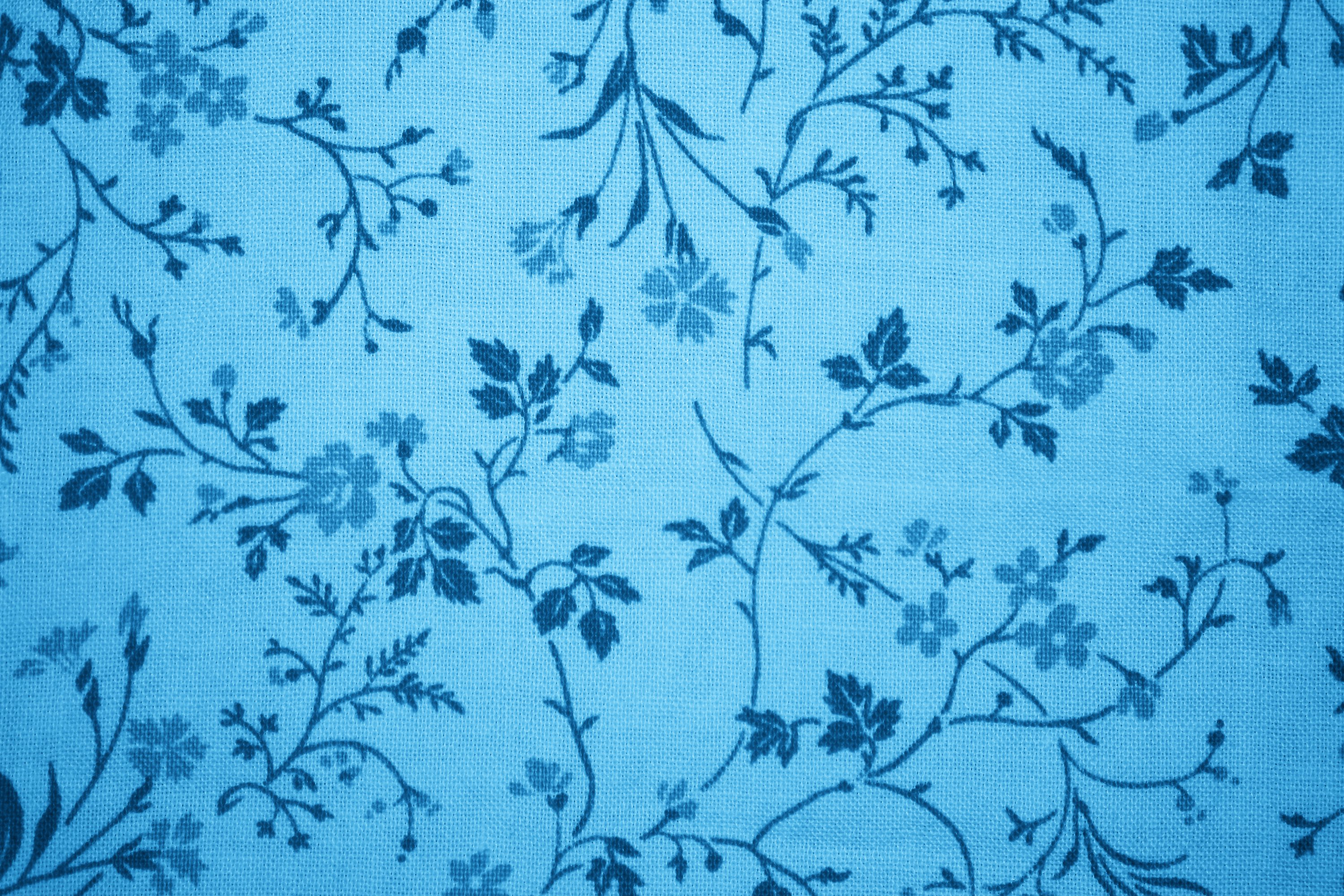 Sky Blue Floral Print Fabric Texture Picture Free Photograph