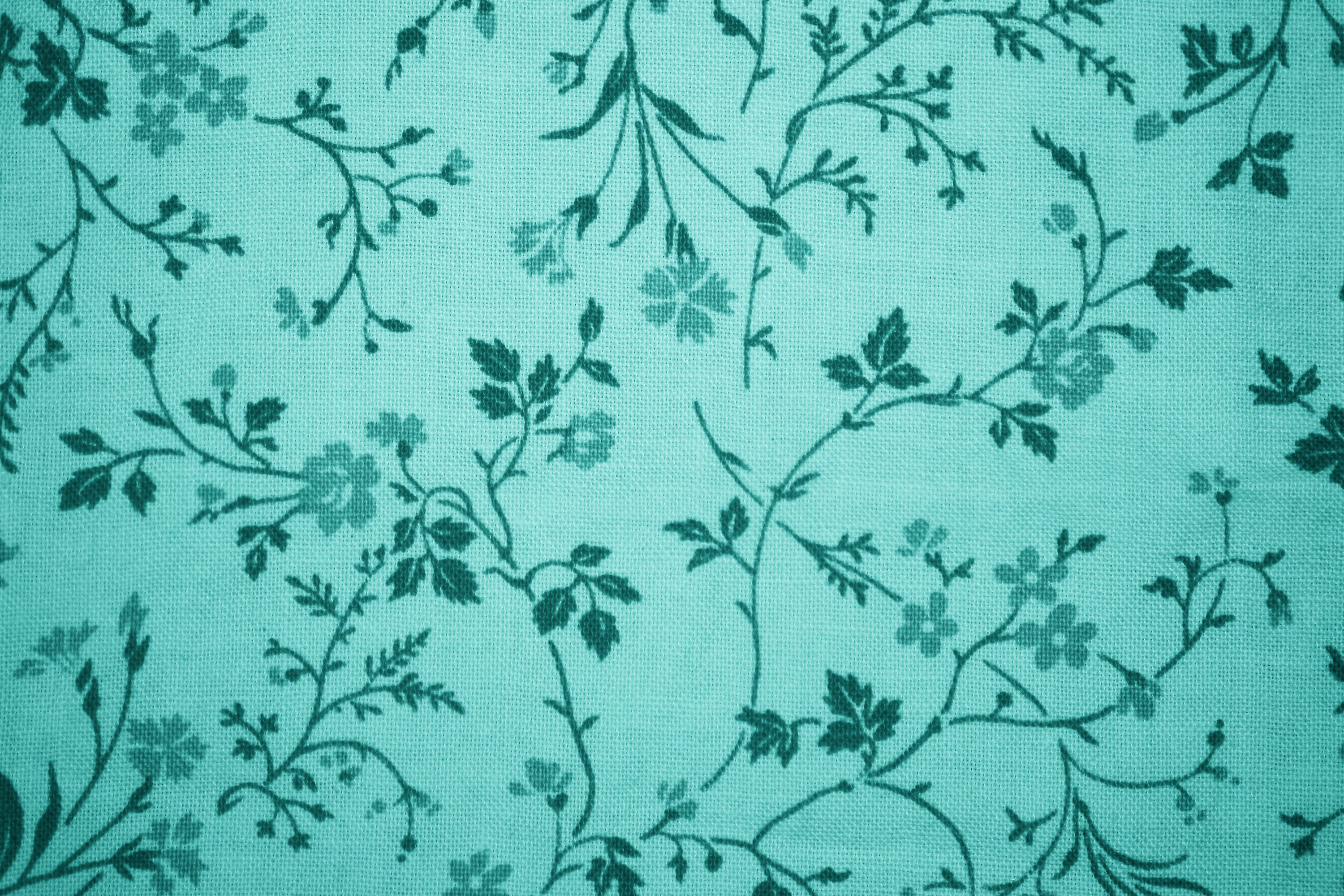 Teal Floral Print Fabric Texture Picture Free Photograph