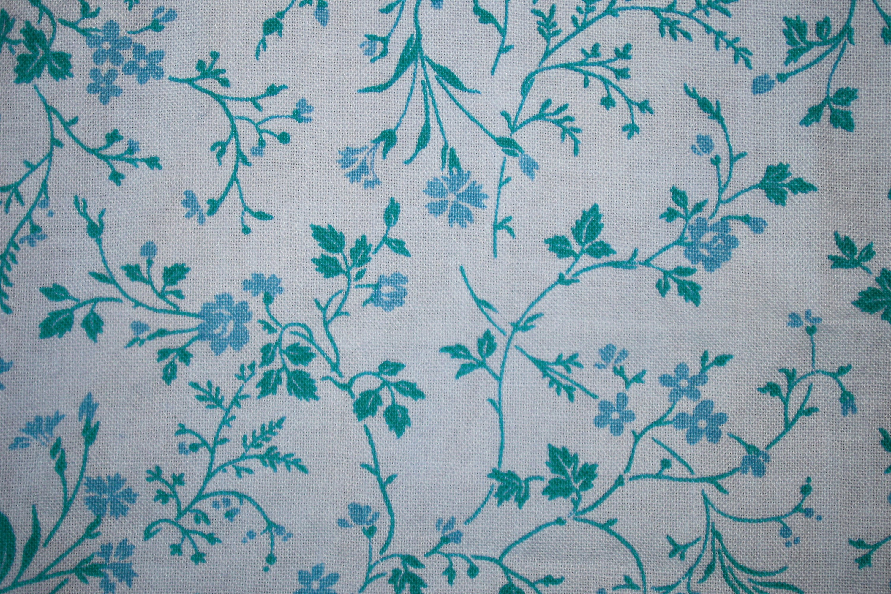 Teal On White Fl Print Fabric Texture