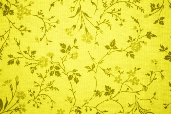 Yellow Floral Print Fabric Texture - Free High Resolution Photo