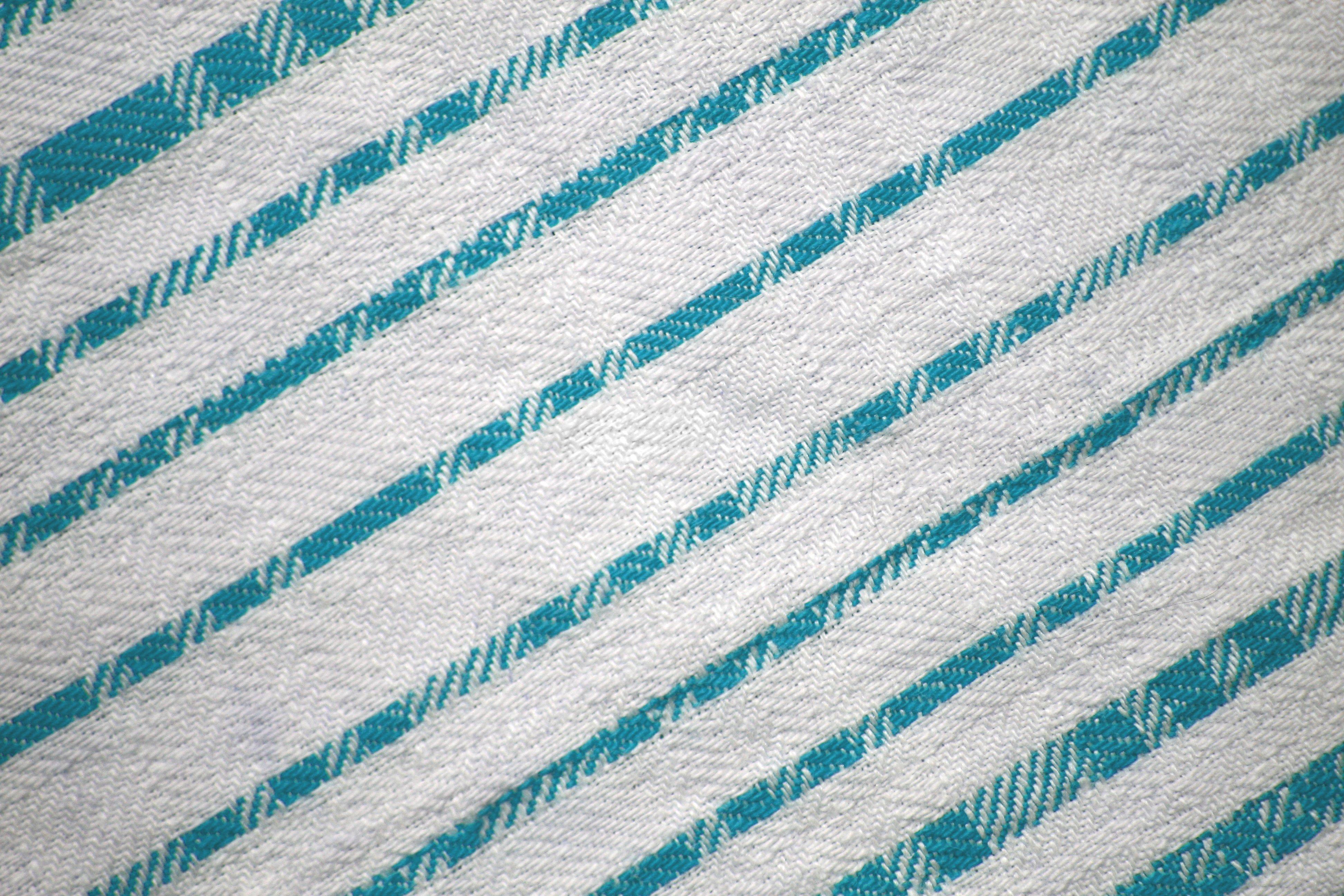 Teal On White Diagonal Stripes Fabric Texture