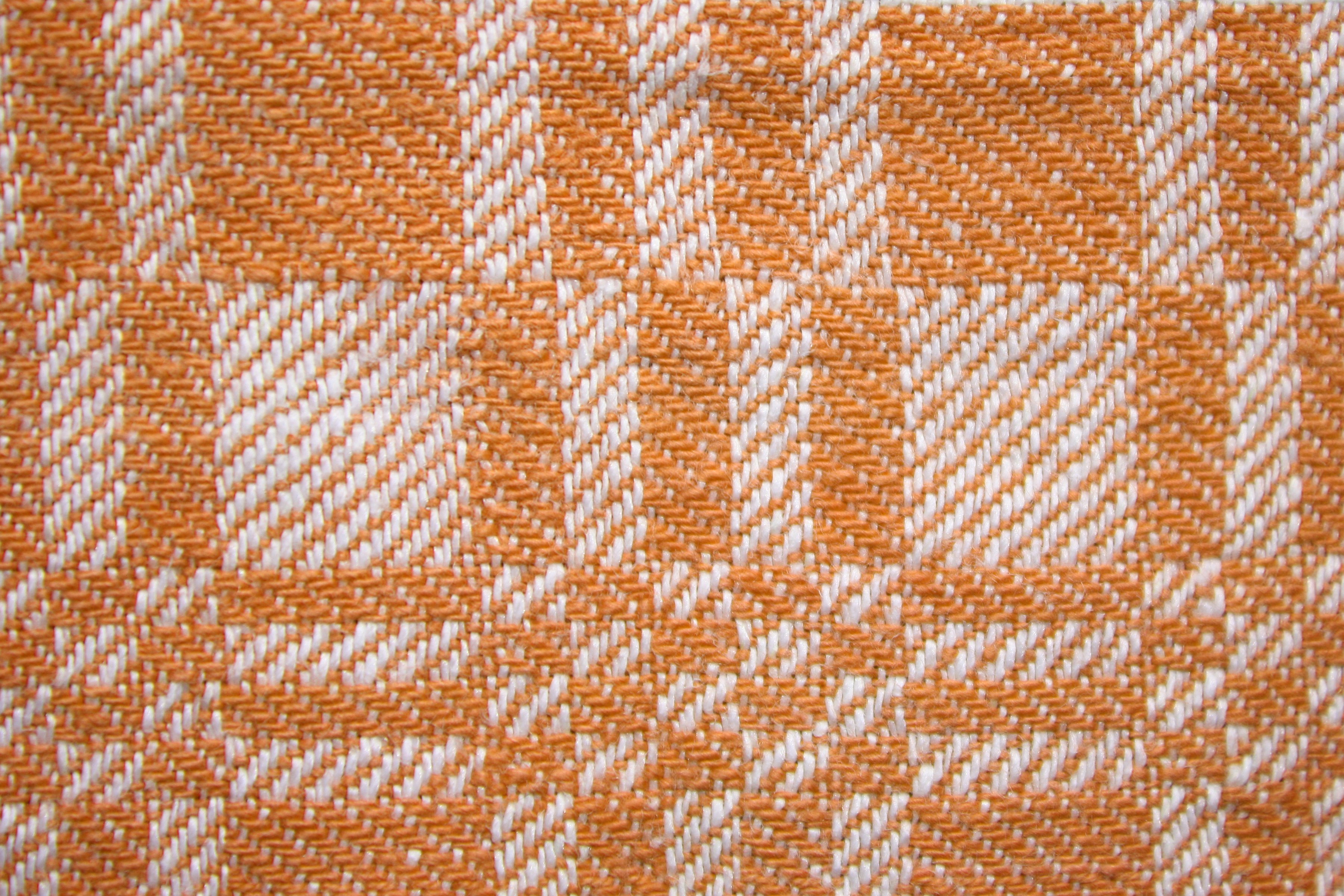 Orange And White Woven Fabric Texture With Squares Pattern