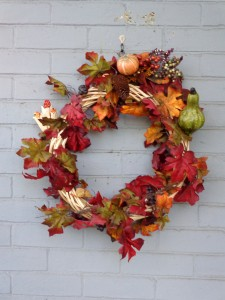 Autumn Wreath with Gourdes Berries and Fall Leaves - Free High Resolution Photo