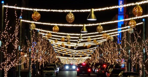 Holiday Night Street Scene with Christmas Lights - Free High Resolution Photo
