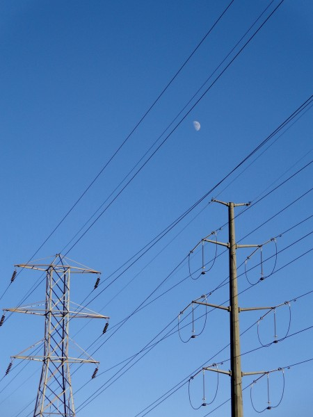 Electric Power Lines with Blue Sky and Daytime Moon - Free High Resolution Photo
