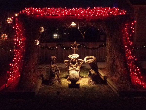 Nativity Scene with Christmas Lights - Free High Resolution Photo