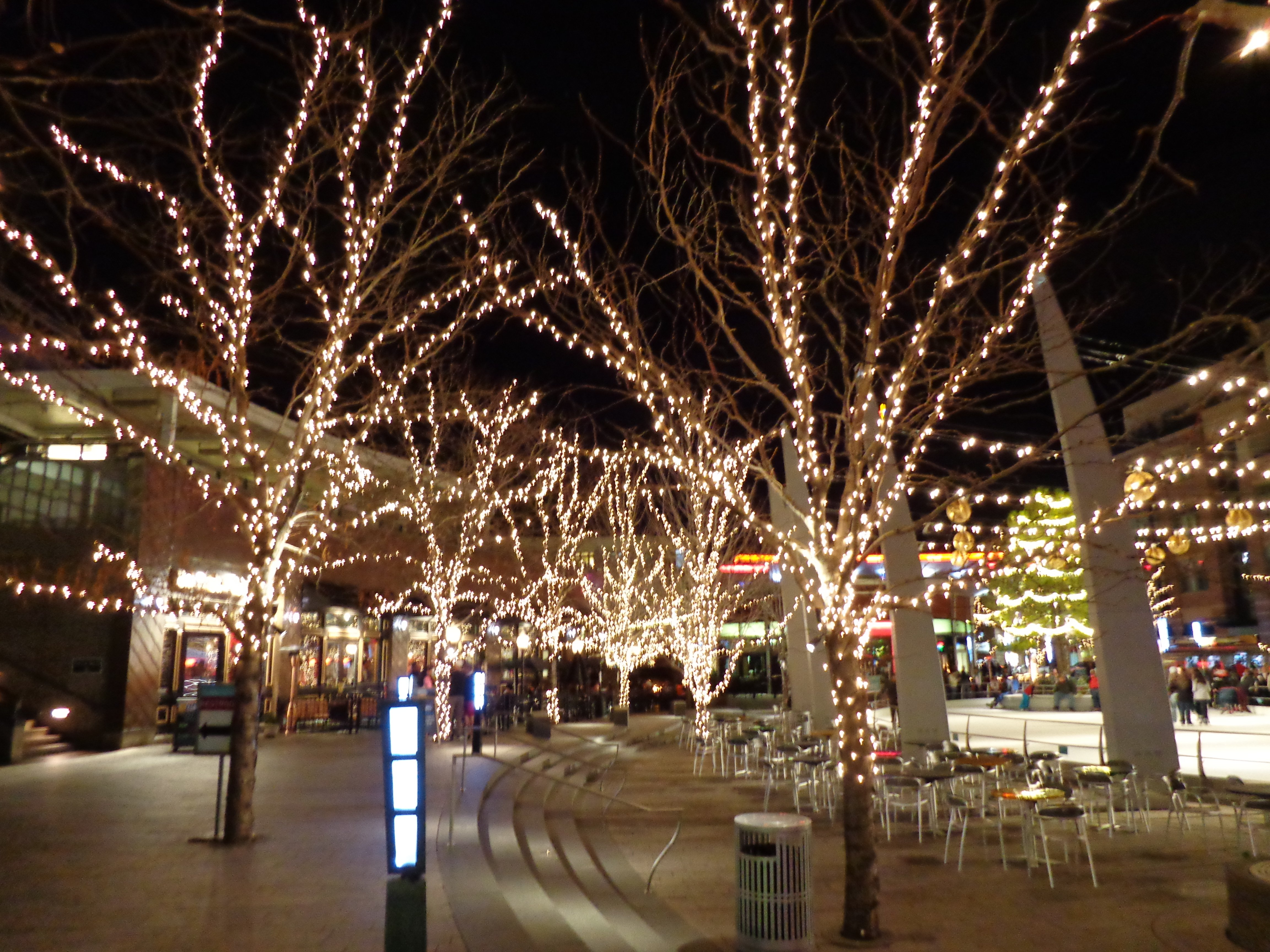 Outdoor Plaza Nighttime Scene With Skating Rink And