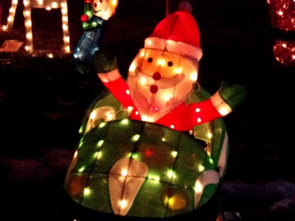 Santa in Race Car Christmas Lights Decoration - Free High Resolution Photo