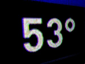 53 Degrees - Digital Temperature Display reading Fifty Three Degrees - Free High Resolution Photo
