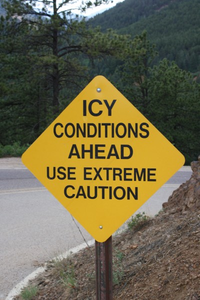 Icy Conditions Ahead Use Extreme Caution Road Sign - Free High Resolution Photo