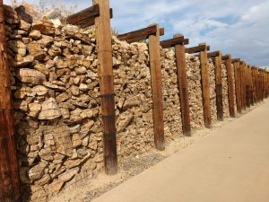 Gabion Rock and Timber Retaining Wall - Free High Resolution Photo