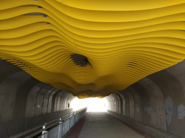 Tunnel with Yellow Wavy Ceiling Art Installation - Free High Resolution Photo
